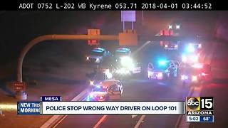 Wrong way driver stopped near Loop 202 and Kyrene Sunday morning - Video