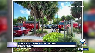 Diver pulled from the water Sunday in Riviera Beach