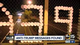 Anti-Trump messages taken down over freeways - Video