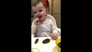 Flexing Her Mussels: Irish Baby Lena Eats Shellfish Like A Pro - Video