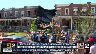 Seven rescued from house fire, apparent explosion in Baltimore Highlands - Video