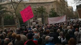Pensioners Protest Outside Government Buildings in Barcelona - Video