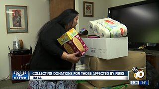 Collecting donations for those affected by fires