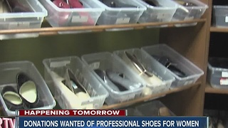 Giving shoes day - collecting professional shoe donations for women - Video