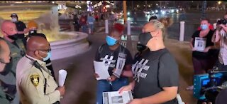 Small group marches on Las Vegas strip demanding big local changes after Chauvin verdict