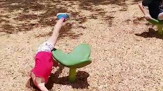 Dizzy Girl Falls Off Spinning Chair - Video