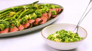Steak with Avocado-Chimichurri Sauce and Grilled Asparagus - Video