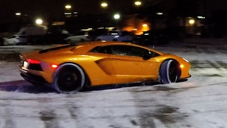 Driver Takes His New Lambo On Its First Snow Drift