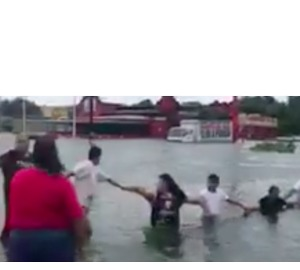 People Form Human Chain to Rescue Man from Houston Floodwaters - Video