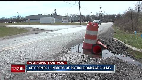 Hundreds of pothole claims denied by the City of Indianapolis