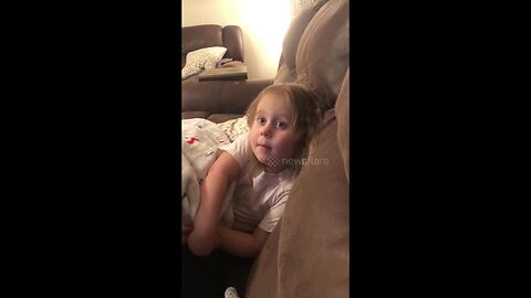 Three-year-old girl says she can't go to bed because of hilarious reason