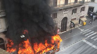 Roman Transit Bus Destroyed by Flames