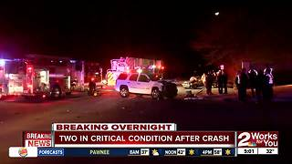 Two people in critical condition after overnight crash - Video