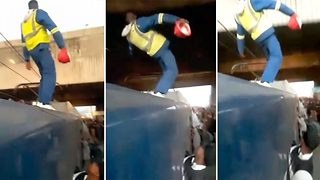That takes train-ing – Train surfer pulls stunt under bridge