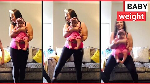 Mum shifts weight by working out with her children