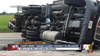 Overturned semi closed NKY interstate for hours