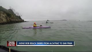 87-year-old St. Pete judge sets record as oldest person to swim from Alcatraz to San Francisco - Video