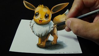 Drawing a 3D Eevee, from Pokémon GO, Trick Art - Video