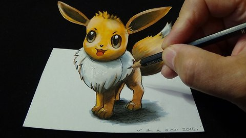 Drawing a 3D Eevee, from Pokémon GO, Trick Art