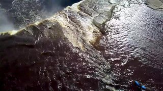 Incredible drone footage shows kayaker going off 110ft waterfall