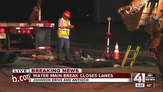 Water main break closes parts of Johnson Drive - Video