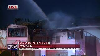 Warren apartment evacuated after large fire - Video