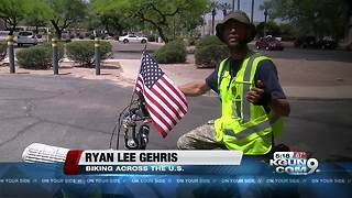 Man rides bike across US to raise awareness for Gold Star kids - Video