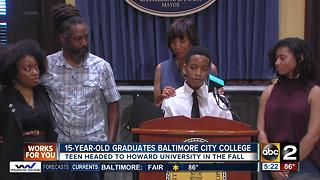 15-year-old graduates Baltimore City College - Video