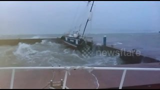 Massive storm sends yacht sinking to bottom of Russian harbour