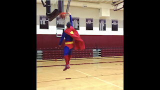Superman Dunks A Basketball