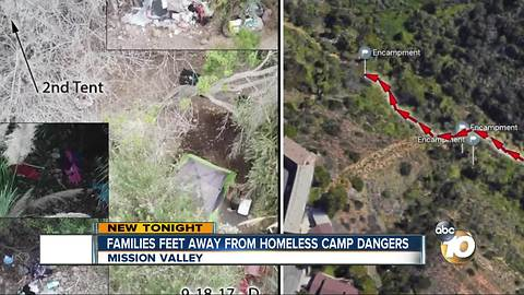 Families living feet from homeless camp dangers