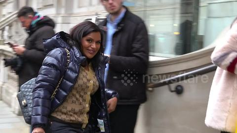 US actor Mindy Kaling returns from shopping ahead of Disney premiere