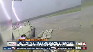 Surveillance video shows moment lightning strikes RSW worker - Video