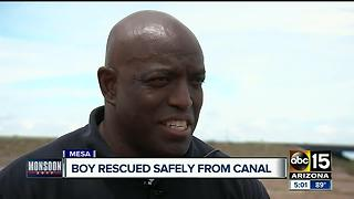 11-year-old boy pulled from flooding Mesa canal - Video