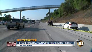 3 teens robbed at gunpoint, thief shoots himself - Video