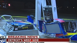 Car crashes into gas pumps in Detroit - Video