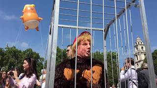 Demonstrator in Trump mask and gorilla suit among protesters outside Parliament - Video