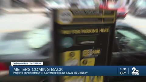 Parking enforcement to return in Baltimore on Monday