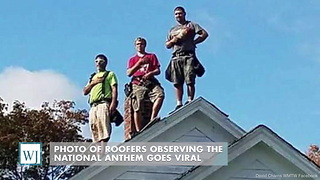 Photo Of Roofers Observing The National Anthem Goes Viral