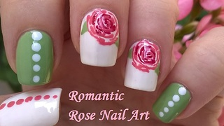 Romantic pastel rose nail art