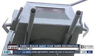 Giant Star Wars AT-AT in front yard of Ohio family's house - Video