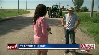 Witness captures slow speed tractor chase - Video