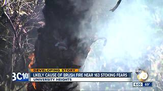 Likely cause of brush fire near 163 stoking fear - Video