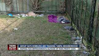 VM Ybor community says homeless are trashing Tampa neighborhood outside Trinity Cafe - Video