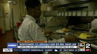 Montgomery Co. signs $15 minimum wage bill into law - Video