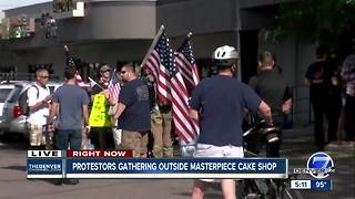 Supporters of Masterpiece Cake Shop rally outside shop - Video