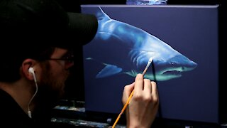 Acrylic Wildlife Painting of a Lurking Shark - Time Lapse - Artist Timothy Stanford