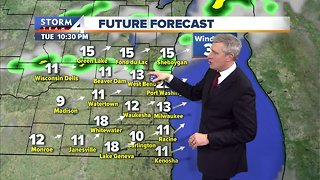 Spotty showers Tuesday night