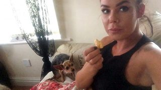 Eyes down! – Cute dog averts gaze when owner is eating  - Video
