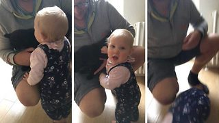 Toddler sent flying by crafty moggy - Video